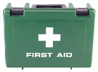 First aid box and training